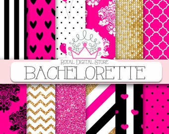 """Pink digital paper: """" BACHELORETTE"""" with pink and gold background, pink scrapbook paper, gold and pink glitter for scrapbooking, cards"""
