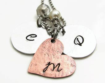 Personalized Initial Necklace, Mixed Metal Necklace, Hand Stamped Jewelry for Mom, Personalized Mothers Necklace, Personalized Necklace