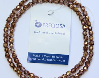 4mm Copper Beads Preciosa Copper Luster Czech Glass Faceted Rounds 16 inch Strand 98 Beads