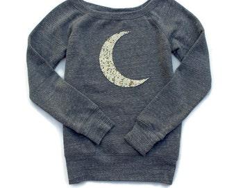 Moon Shirt. Sequin Moon Shirt. Crescent Moon Shirt. Moon Sweatshirt Jumper. Halloween Shirt. Womens Sweatshirt. Plus Size Women. Tumblr