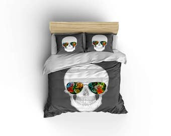 Beautiful Skull And Shades Duvet Covers, Home Decor,Sugar Skull Bedding, Bedroom  Decor