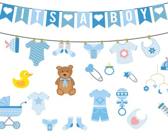 Boy baby shower clipart,baby shower clipart,commercial use,vector graphics,digital clip art,Instant download