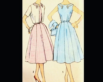 Vintage 60s Fitted Sleeveless Gored Skirt Cropped Bolero Day Dress Suit Slenderette Sewing Pattern 2502 B36