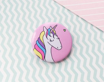 Pretty Unicorn Pin Button Badge Rainbow Hair Unicorn Gift Patches and Pins Cute Pin Badge