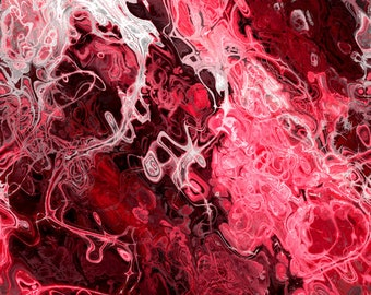 Red Pink White Burgundy Artist Made Cotton Upholstery Canvas Fabric Fiber Art