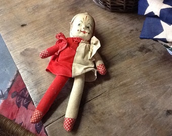 Vintage 1950's Plastic Faced Clown Doll