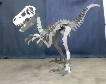 Large steel dinosuar sculpture. Over 7 feet long!