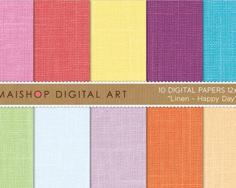 Digital Paper Linen 'Happy Day' Pink, Red, Yellow, Purple, Blue, Green, Celeste, Lilac and Orange Digital Backgrounds for Invites, Cards..