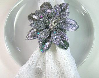 Handmade Stunning Silver Glitter Poinsettia Napkin Rings- Set Of 4-Winter-Table Decor-Christmas-Holidays
