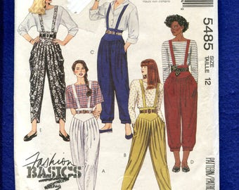 McCalls 5485 Genie Pants with Suspenders Pattern Size 12 UNCUT