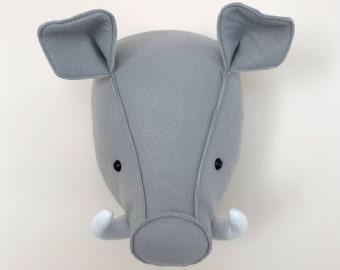Warthog, Faux Taxidermy, Felt wall mount,