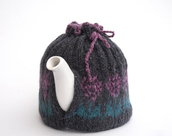 Hand knit Fair Isle Tea Cosy , 100% tweed wool tea pot cosy , tea / coffee gift for the home , kitchen foodie gift