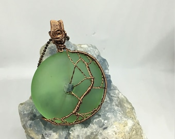 Green Sea Glass Donut Wire Wrapped Pendant Tree of Life Wrapped in Non Tarnish Antiqued Copper Wire Weaved Pendant Unique Necklace