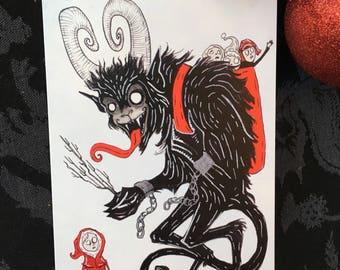 Krampus with Children Greeting Card
