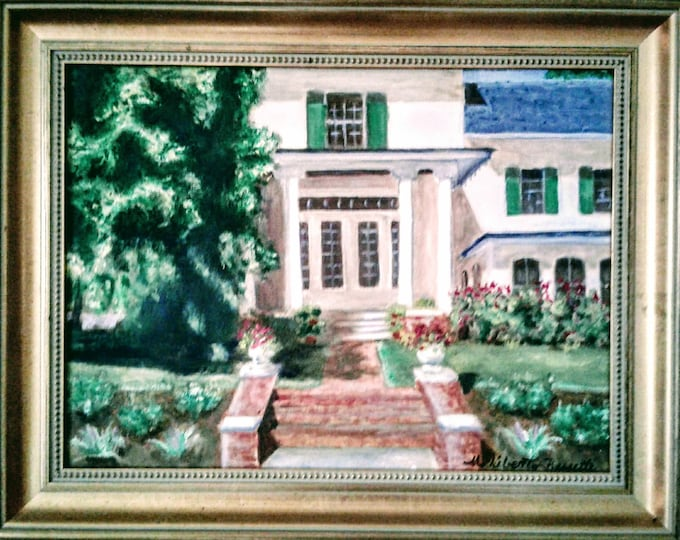 Free Ship: Historic Belmont Hall South Portico, Smyrna Delaware, Oil on Canvas, Offered by Artist