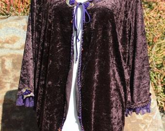 Velvet jacket , Soft crushed velour jacket , Jacket for layering , Womens fall jacket , Evening jacket , Comfortable jacket , OOAK jacket.