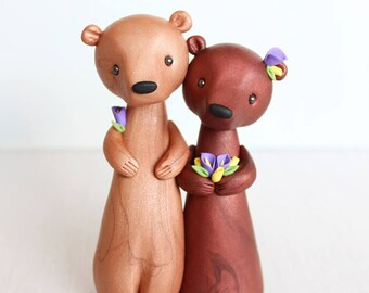 Brown Bear Wedding Cake Topper - Woodland Wedding Cake Topper, rustic animal wedding clay figurine by Heartmade Cottage