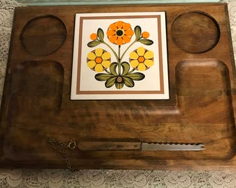 Vintage Footed Wooden Cheese Platter Snack Tray Shabby  Chic Tray with Serving Knife - Colorful  Ceramic Tiles Chippy Wood  Made in Japan