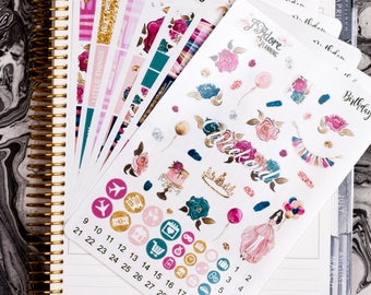 Birthday Planner Weekly Sticker Kit, Planner Stickers, Weekly Kit, Planner Weekly Kit, Stickers Vertical Erin Condren 7 Sheets/200+ Stickers