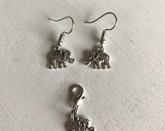 Elephant boho drop earrings or charm set