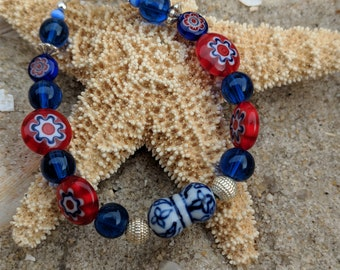 Red White Blue Millefiore beads, blue white porcelain bead bracelet,  blue glass beaded bracelet. silver accents. Benefits rescue animals