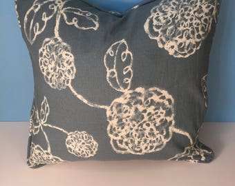 """18x18"""" Decorative Corded Pillow Cover - Blue and White Floral"""