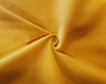 Luxurious Solid Yellow 100% Cotton Velvet Velour Fabric for Upholstery Heavy Weight Curtain Drapery Material Sold by the Yard 54 inch Wide