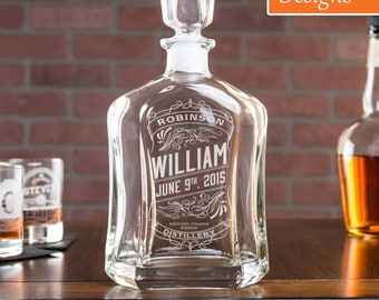 21st Birthday Gift for Him, Personalized Whiskey Decanter, Etched Liquor Decanter, Personalized Dad, Gift for Dad, Engraved Decanter