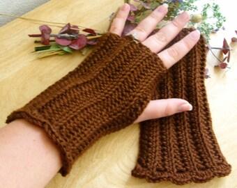 Brown Fingerless Gloves - Brown Texting Gloves - Brown Arm Warmers - Brown Wrist Warmers - Brown Wristwarmers - Brown Gauntlets