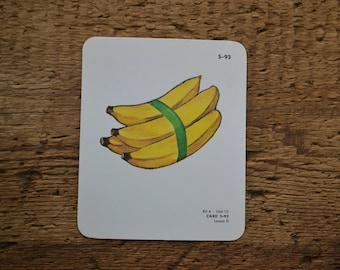 Vintage Educational Ephemera Scrapbooking Picture Print Flash Card - Fruit Bananas