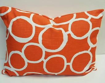 Circles Print Tangerine Orange Indoor Decorative Throw Pillow Cover with Hidden Zipper
