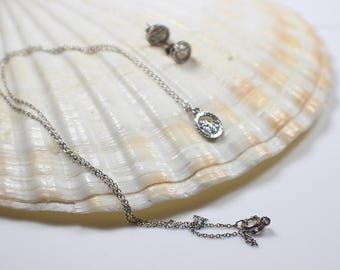 Oval St.Christopher Necklace and Earrings Set  Silver Metal Earwires and 925 Chain Necklace