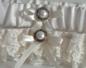 Silver & Ivory Lace Wedding Garter Set, Antique look, Silver and pearly button, includes keepsake and toss garters