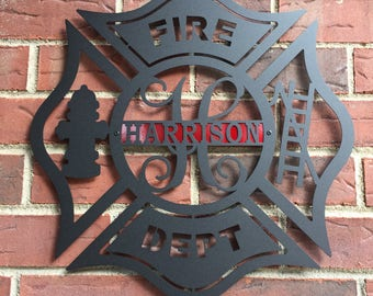 Firefighter Metal Maltese Cross w/ Ladder, Fire Dept , Monogram Door Hanger, Personalized Gift, Firefighter gift, Father's Day Gift