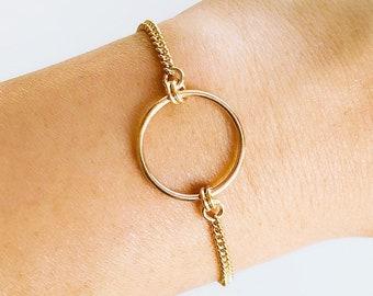 Malana bracelet - Gold Circle Bracelet, Love Bracelet, Gold Eternity Bracelet, Adjustable Bracelet, Dainty Bracelet, Heavy Chain Bracelet