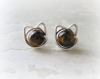Brown Cat Studs, Sterling Cat Studs, Pet Lover Gift, Kitty Post Earrings, Tiger Eye Posts, Cat Jewelry, Kitty Cat Studs, Cat Post Earrings