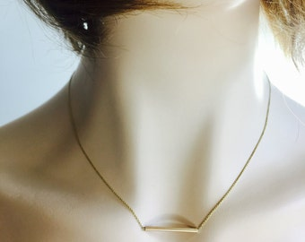 bar necklace, dainty 14k solid yellow gold, layering bar  necklace, cable chain