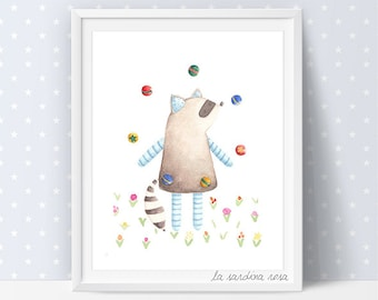 Circus wall art, Kids room prints, Raccoon illustration, Circus nursery art, Woodland Animals, Kids room decor