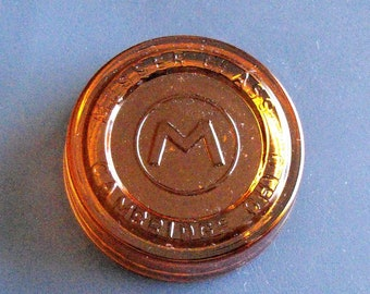 Mosser Glass Co Amber Paperweight Cambridge Ohio