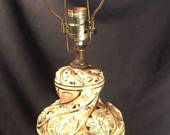 Vintage Capodimonte Table Lamp with Dolphin-Footed Base