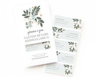 Personalized Return Address Labels | Custom Return Address Labels Set of 30 : Morning Blooms Personalized Address Labels