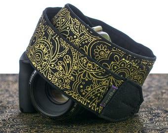 Lux Paisley dSLR Camera Strap, Metallic Gold and Black, SLR, 114