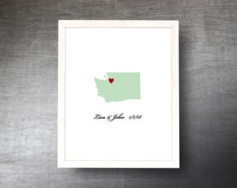 Washington Wedding Guestbook Alternative - Hand Cut Wedding Guest Book - Washington State Shape - Guest Poster - 4 Colors and Sizes
