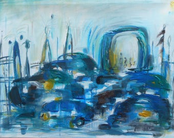 """Original oil painting by Nalan Laluk,""""Traffic"""""""