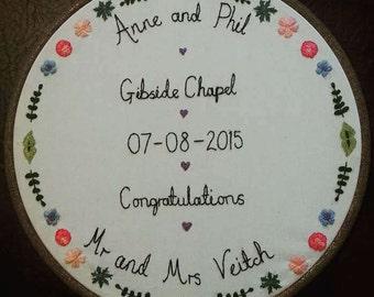 Custom embroidery hoop wedding anniversary lyrics or quote