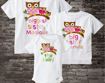 Biggest Sister Shirt, Big Sister Shirt, and The Baby Shirt Set Personalized Owl Tee Shirt or Onesie Set of Three 09212012a