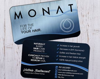 Monat Business Cards - Silver Blue Design with Dark Blue Faded Back - Durable 16pt - Rich Matte Finish -PRINTED and SHIPPED directly to YOU!
