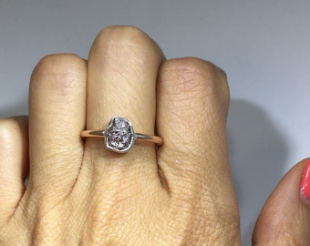 1 Carat Rough Diamond Bezel Ring - 2 Tone Rose and White Gold Ring by Luxinelle 399 Specials