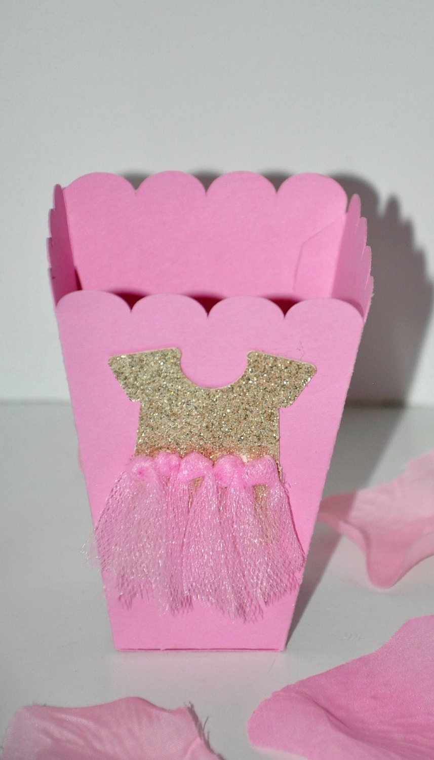Pink & Gold Favor Box Ballerina for Popcorn or Candy w/ Tutu