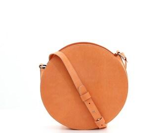 Orange leather circle bag, round bag, round crossbody bag, orange leather bag, round shoulder bag, orange bag, leather crossbody bag